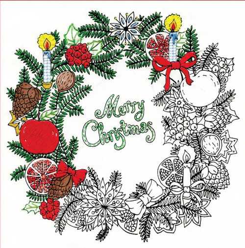 "Design Works - Zenbroidery - Christmas Wreath 10"" x 10"""