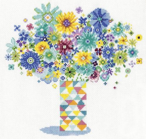 Design Works - Blue Floral Quilt Vase