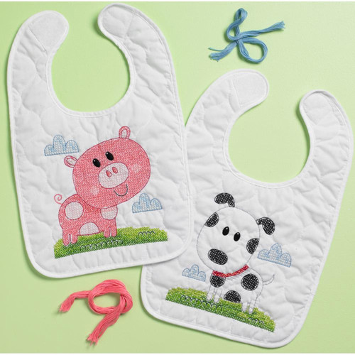 Plaid / Bucilla - Farm Animals Bib Pair