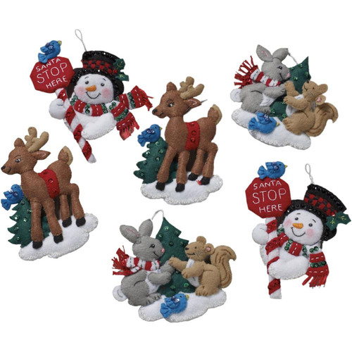 Plaid / Bucilla - Santa's Stop Here Ornaments