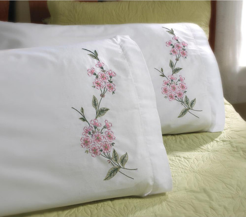 Plaid / Bucilla - Dogwood Branch Pillowcases (2)