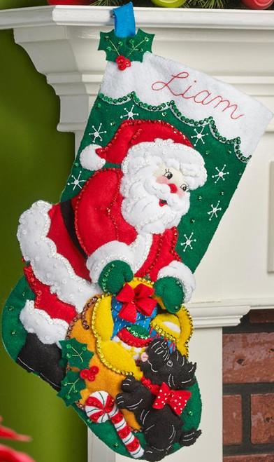 Plaid / Bucilla - Santa and Scottie Dog Stocking