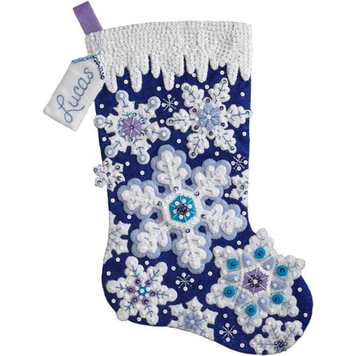 Plaid / Bucilla - Sparkle Snowflakes Stocking