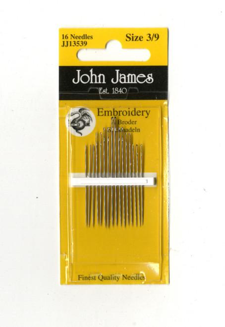 16 John James Size 3/9 Embroidery Hand Needles