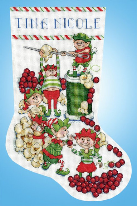 Design Works - Popcorn Elves Stocking
