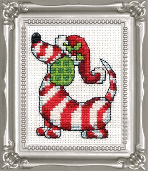 Design Works -  Candy Cane Dog Picture Kit w/Frame