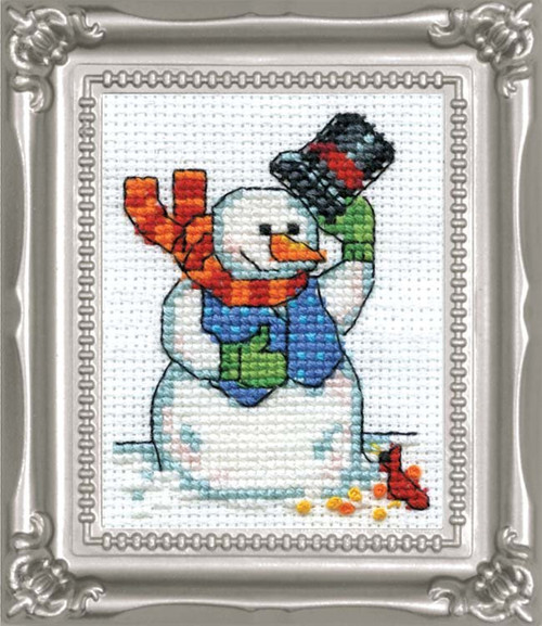 Design Works -  Snowman & Cardinal Picture Kit w/Frame