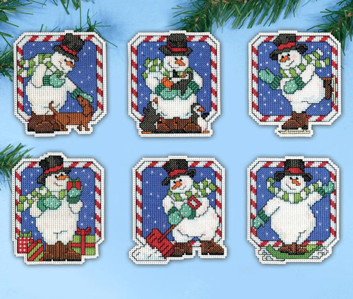 Design Works - Candy Cane Snowmen Ornament Set (6)