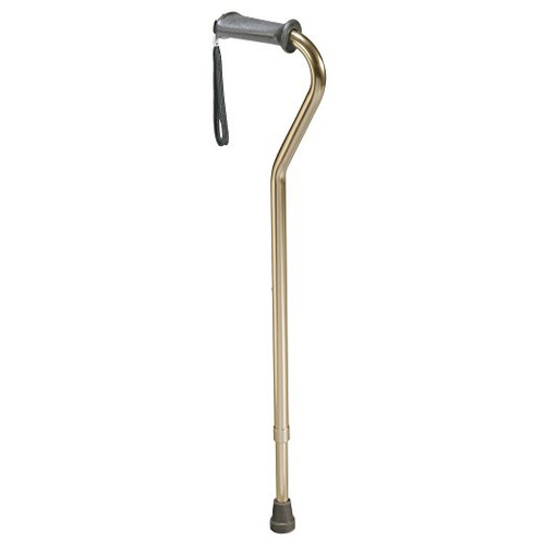Carex Adjustable Bronze Finish Aluminum Cane with Offset Cushioned Grip Handle and Wrist Strap