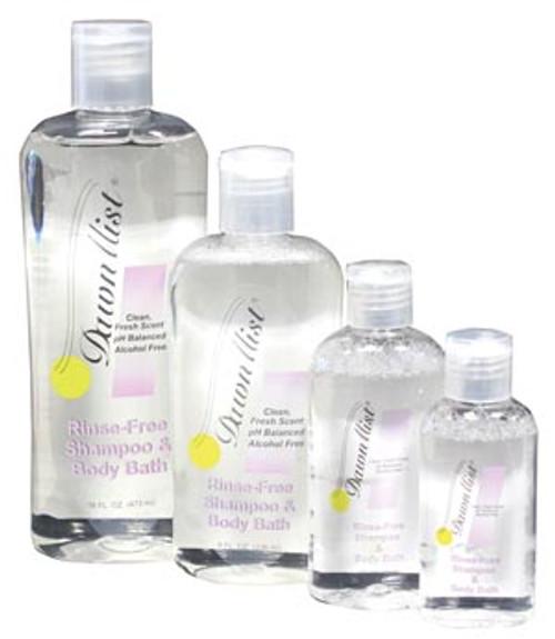 Shampoo & Body Bath, Rinse Free, 8 oz Bottle with Dispensing Cap, 12/bx,