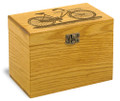 Bicycle Collection Oak Personalized 4x6 Recipe Card Box