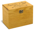 Bliss Collection Oak Personalized 4x6 Recipe Card Box
