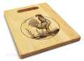 Rooster 9x12 Engraved Cutting Board Featuring Handle Maple Wood