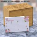4x6 Recipe Card Pink Petals White 40ea