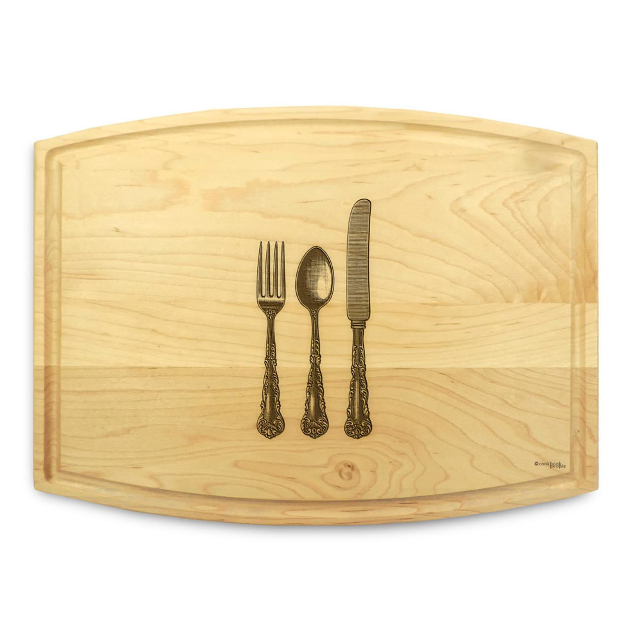 Rectangular cutting board in knifeforkspoon design