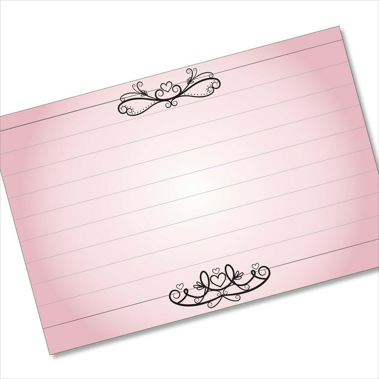 recipe cards set hearts and lines pink note card or 4x6