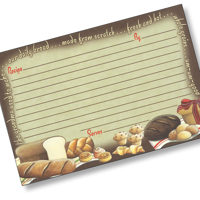 4x6 Our Daily Bread Recipe Card