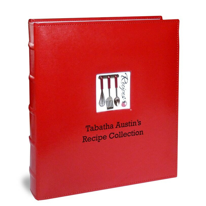 Personalized Full Size Red Leather Deluxe Recipe Binder A