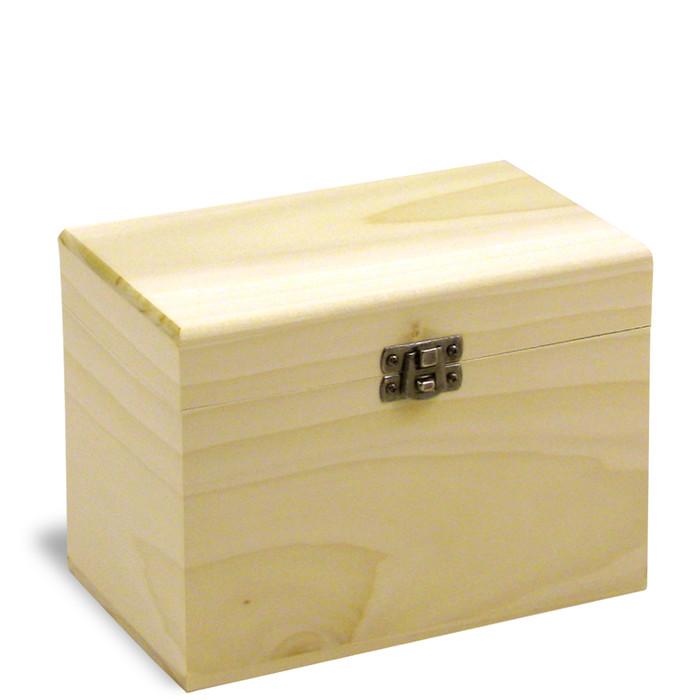 4x6 Poplar Wood Recipe Card Box - Made in USA
