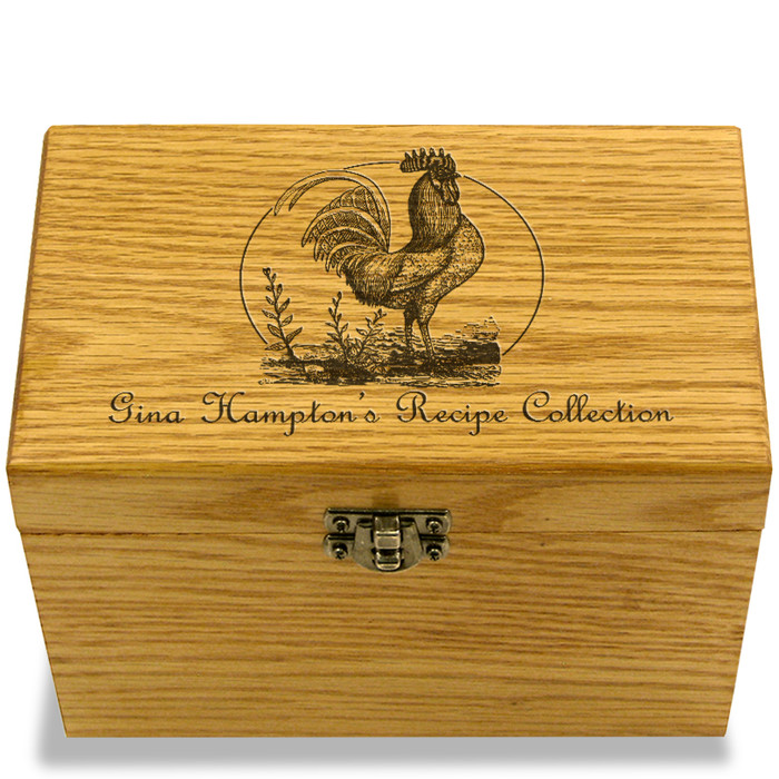 Rooster Collection Oak Personalized 4x6 Recipe Card Box
