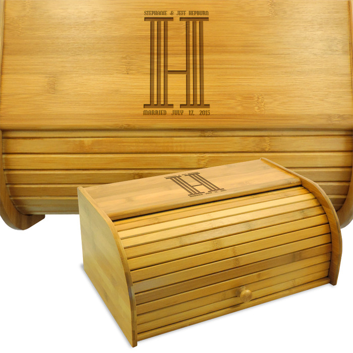Personalized Columns Wood Breadbin