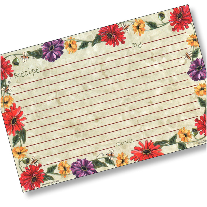 4x6 Buzz'n Zinnias Recipe Card