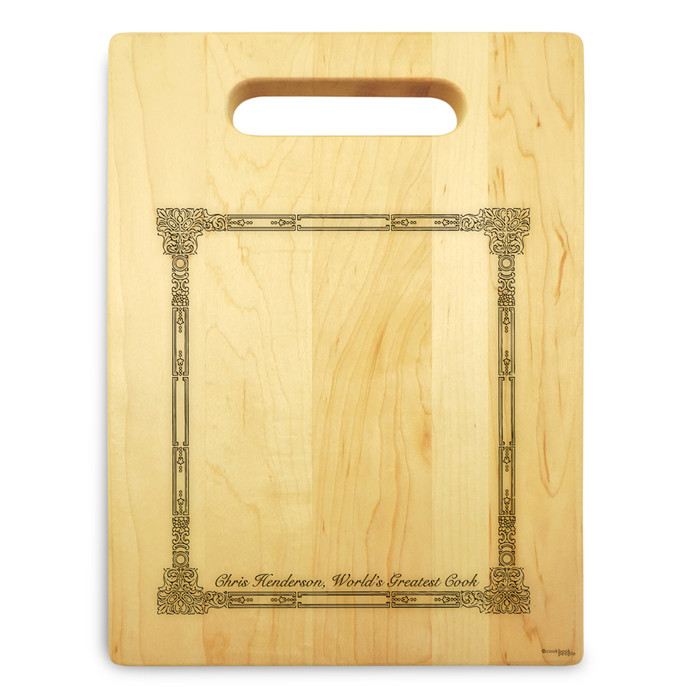 Corinthian 9x12 Engraved Cutting Board Featuring Handle Maple Wood