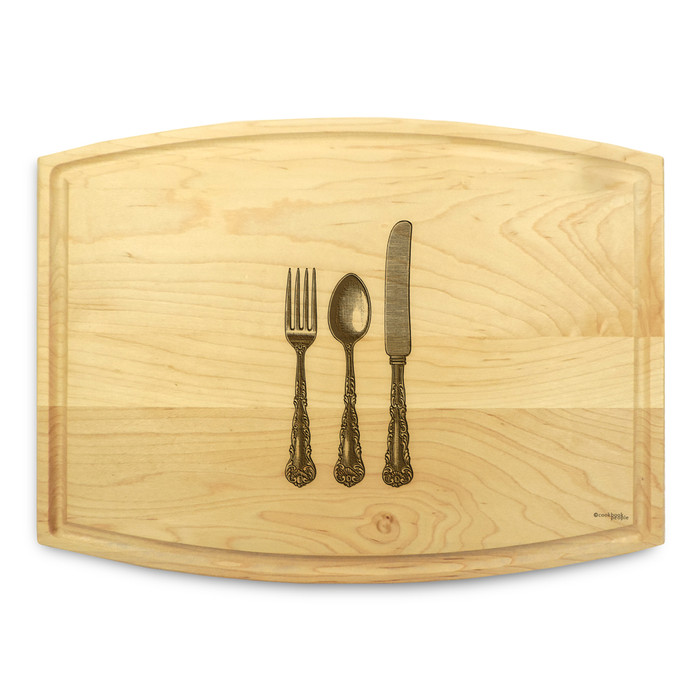 Knife Fork Spoon 9x12 Grooved Maple Cutting Board
