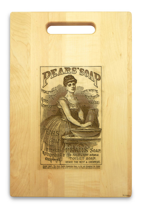 Pears Soap 10x16 Handle Cutting Board Maple Made in USA