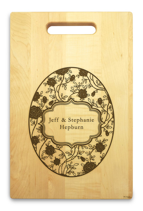 Petals 10x16 Handled Personalized Cutting Board