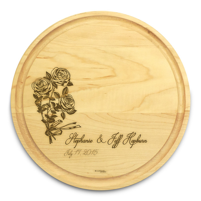 Rose Ribbon 10in Circle Maple Cutting Board with Juice Groove