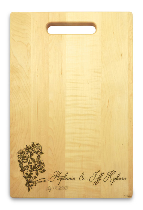 Rose Ribbon 10x16 Handle Monogram Cutting Board