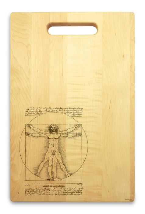 Vitruvian Man 10x16 Hand Hole Maple Cutting Board