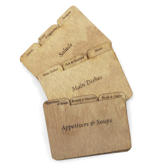 "3 x 5"" Tab Dividers Wood - Set of 9"