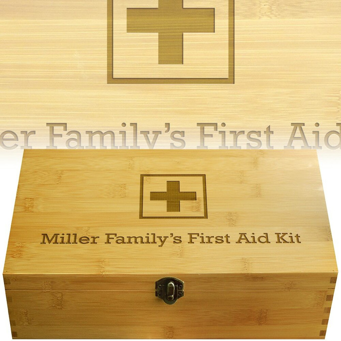 First Aid Squares Engraved Multikeep Box