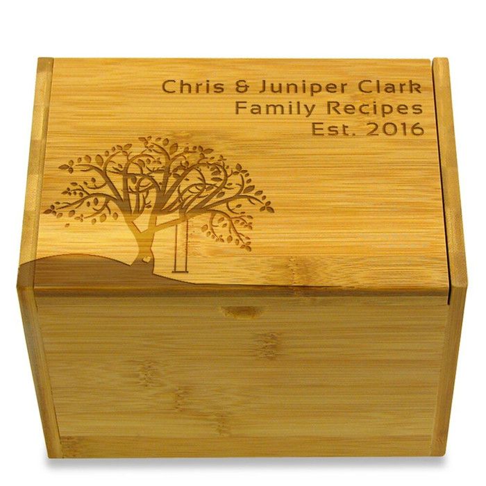 Tree Swing 4x6 Personalized Recipe Card Box