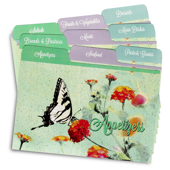 4x6 Tabbed Recipe Card Dividers - Butterfly Garden - 9 ea