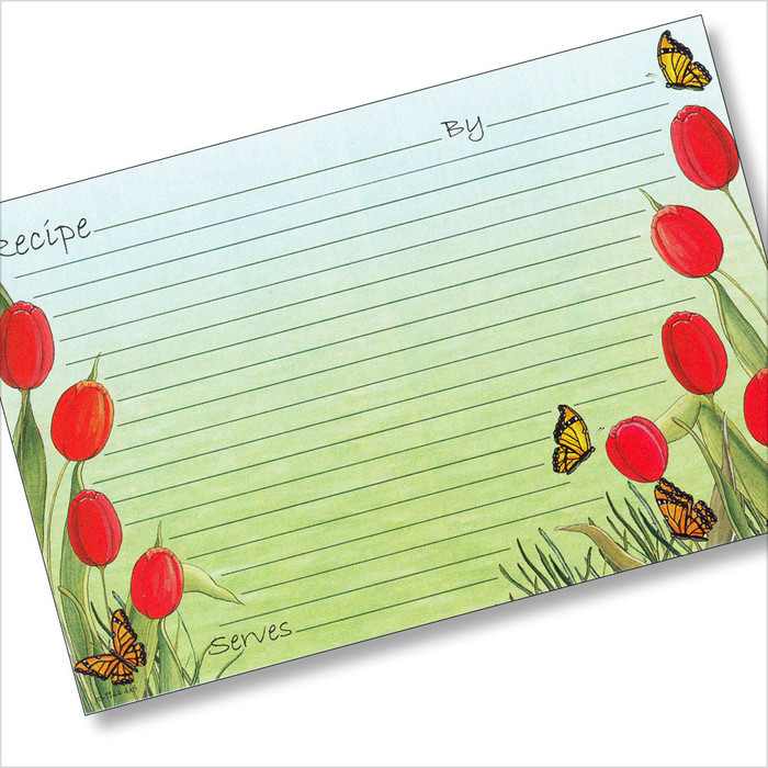 4x6 Red Tulips Recipe Card 40ea