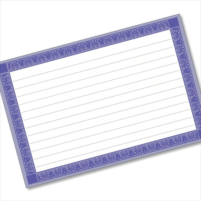 4x6 Recipe Card Rectangle Framed Blue 40ea