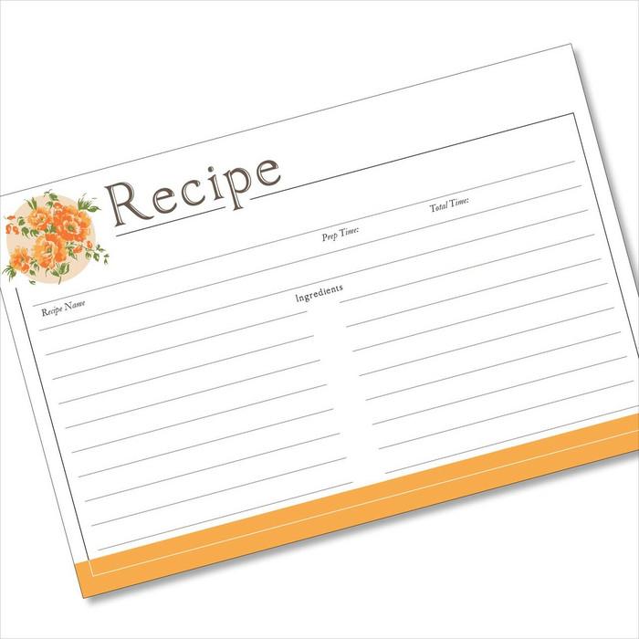 4x6 Recipe Card Corner Bouquet Orange 40ea