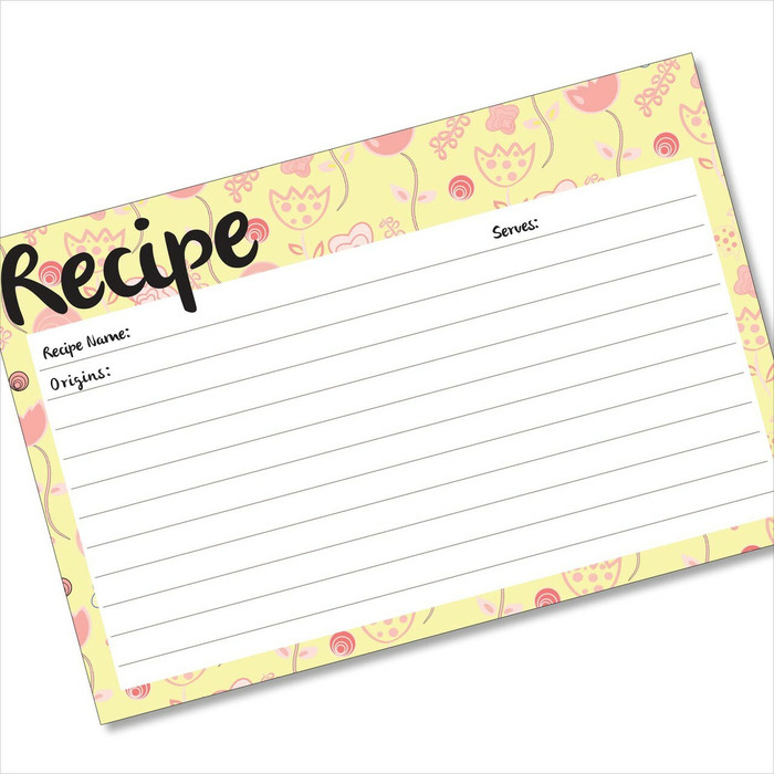 4x6 Recipe Card Flowerama Mama Pink and Lemon  40ea