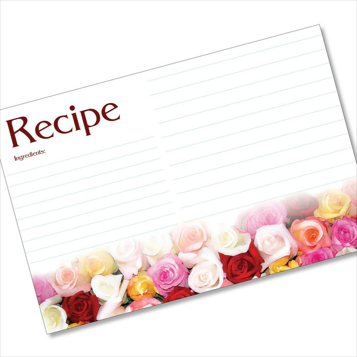 4x6 Recipe Card Rose Rows 40ea