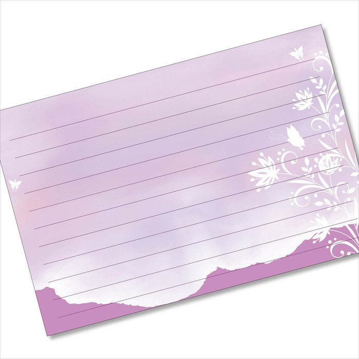 4x6 Recipe Card Purple Butterflies Silhouette Note card or Gift Card or  40ea