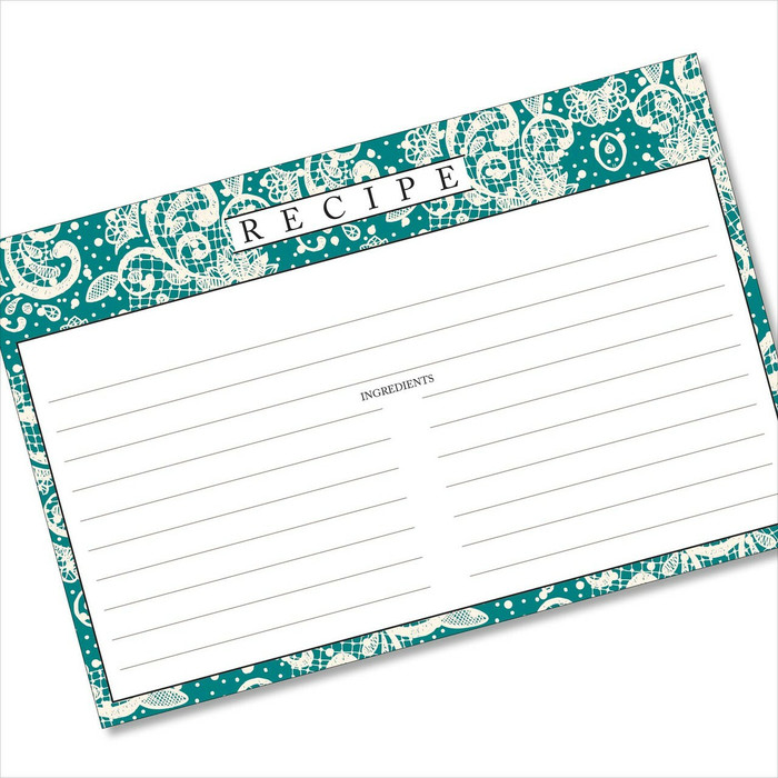 4x6 Recipe Card Lace Settings Teal 40ea