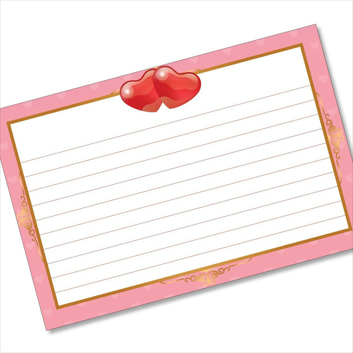4x6 Recipe Card Pink Hearts Princess Note card or Gift Card or  40ea