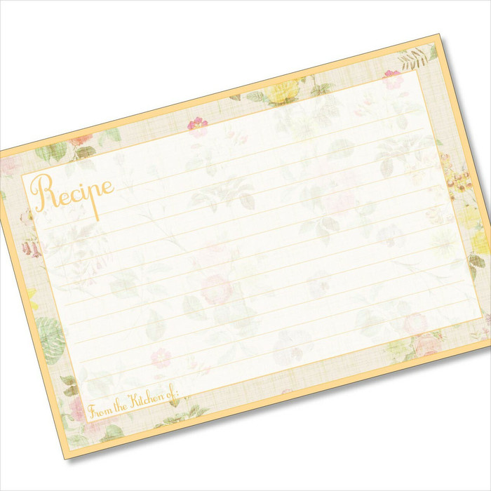 4x6 Recipe Card Lemon Linen 40ea