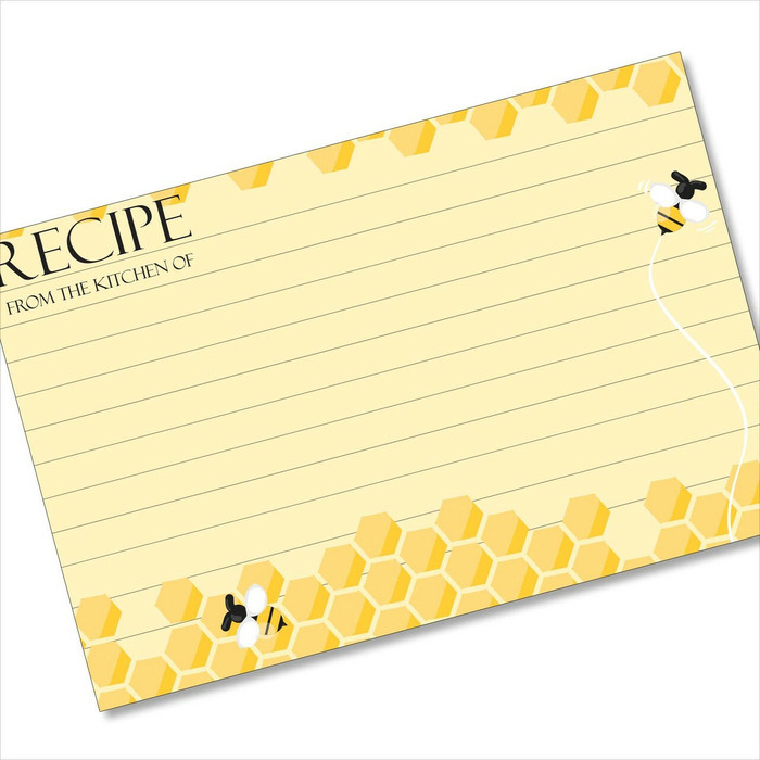4x6 Recipe Card Honeybee Busy Bee Yellow 40ea