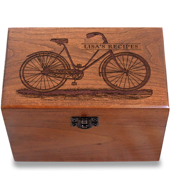 Bicycle Personalized Cherry 4x6 Recipe Card Box