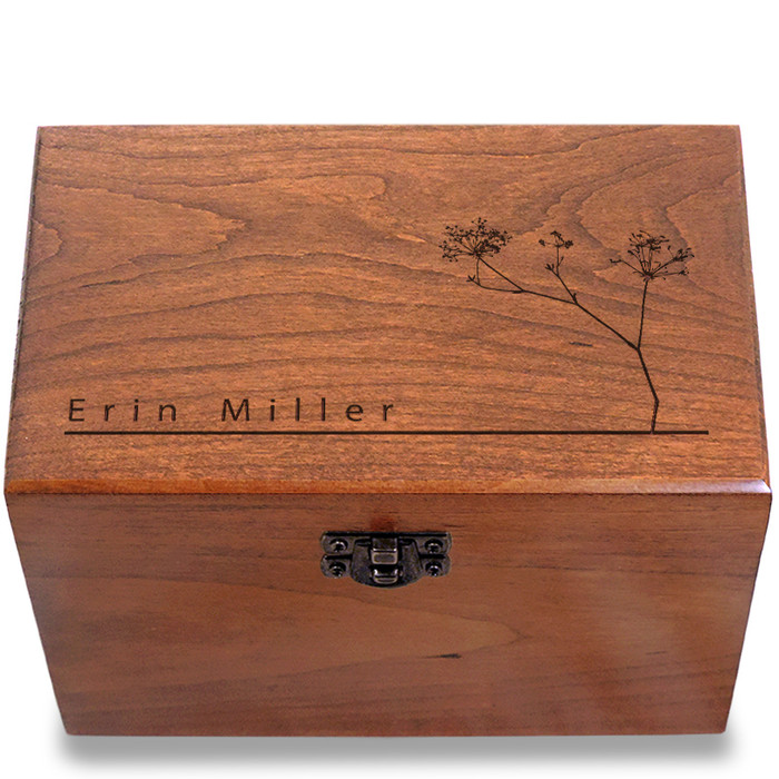 Autumn Personalized Cherry 4x6 Recipe Card Box
