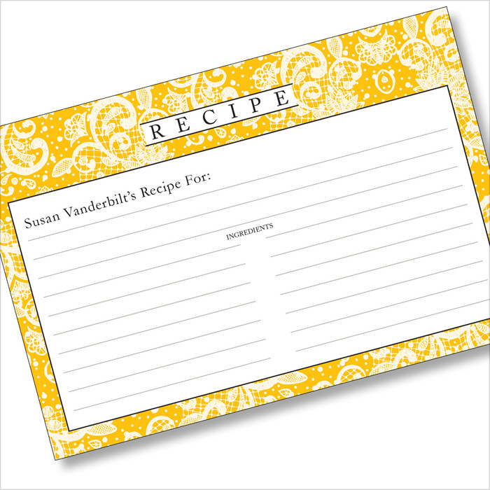 Personalized 4x6 Recipe Card Lace Settings Ochre Yellow 40ea